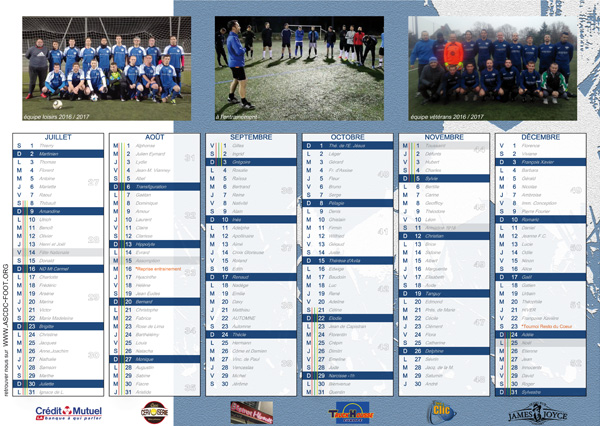 Calendrier 2017 ASCDC foot